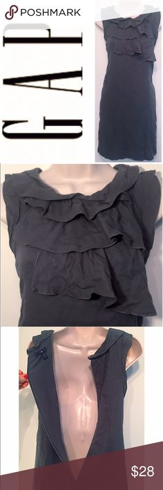 """GAP cotton & wool ruffle sleeveless dress NWOT- flawless! Such beautiful ruffle detail on chest & the gray color is perfect for Fall!Partial back zip & hook closure. Fully lined. 83% cotton/17% wool shell. 100% poly lining. Size 6. Approx 35.5"""" long, 35"""" waist, & 19.5"""" flat across chest. Should fall just above the knee. Bundle to save! NO TRADES, no modeling. REASONABLE offers welcome via offer button. GAP Dresses"""