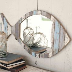 Nautical Mirrors: Driftwood Fish Mirror|Bella Coastal Decor