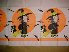 1970s VTG Halloween Party Pumpkin Witch Black Cat Chat LG Tablecloth 99  x 60