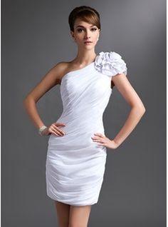 Forme Fourreau Encolure asymétrique Court/Mini Mousseline Robe de mère de la mariée avec Plissé Fleur(s) (008016385)