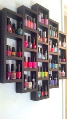 Kitchen Storage Ideas for Small Spaces Nail polish display. This is pretty good, because it looks cool and I have a lot of nail polish. This is pretty good, because it looks cool and I have a lot of nail polish. Smart Kitchen, Kitchen Storage, Bathroom Storage, Bathroom Organization, Girls Bedroom Organization, Kitchen Display, Bathroom Closet, Bathroom Shelves, My New Room