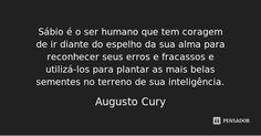 Sábio é o ser humano que tem coragem de ir diante do espelho da sua alma para reconhecer seus erros e fracassos e utilizá-los para plantar as mais belas sementes no terreno de sua inteligência. — Augusto Cury