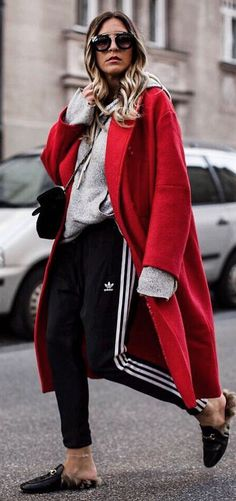 how to wear a red coat : hoodie + bag + stripped pants + loafers