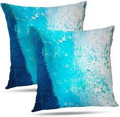 Mugod Moroccan Tile Throw Pillow Case Cobalt Blue Aqua Gold Quatrefoil Floral European Cotton Linen Cushion Cover for Men Women Sofa Armchair Bedroom Livingroom 18x18 Inch