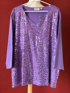 QUACKER FACOTRY Purple Embellished Knit Top Size 3X PLUS NWOT NEW #QUACKERFactory #KnitTop #Casual
