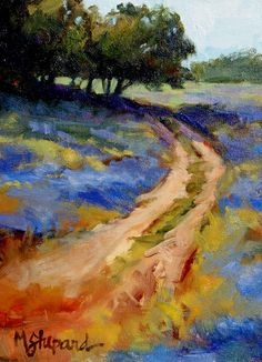 Texas Bluebonnets on a country trail.  a 6 x 8 oil painting by Mary Shepard. www.maryshepard.com