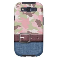 Trendy and pretty hunting sport camo Samsung Galaxy S3 case. Beautiful green, pastel pink camouflage, blue jeans denim pattern, and purple leather belt. Vintage retro design for the hip fashion trend setter, female deer bear or duck hunter, graphic digital motif art lover. Cute and fun gift for mom's birthday, Mother's day or Christmas. Classy, chic and cool phone cover for the girly girl or sophisticated and elegant woman. Also for Galaxy S2 S4, iPhone 3 4 5, iPod Touch 4G 5G, Droid Razr…