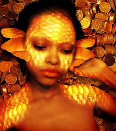 "littleblackprincesses: ""[GoldFish Mermaid] by ~Aqueeous-Solutions """