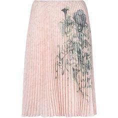 Prada pleated printed skirt (€1.400) ❤ liked on Polyvore featuring skirts, pink pleated skirt, embellished skirts, pastel skirts, knee high skirts and knee length pleated skirt
