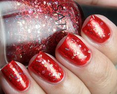 Colores de Carol: Sation Miss Popular (red and holo glitter topper)