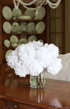 Step by Step instructions - how to make flower bouquets from Dollar Store stems and tissue paper/coffee filters