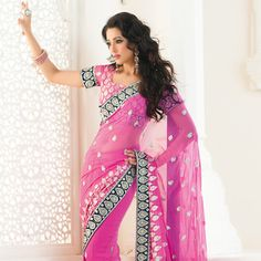 Pink Faux #Georgette #Saree with Blouse