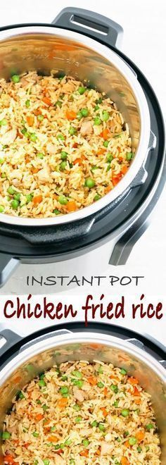Healthy Meals Insta Pot Chicken Fried Rice - Chinese take-out right in your Instant pot. Packed with chunks of tender chicken, scrambled eggs, carrots and peas, this Instant pot chicken fried rice is easier and healthier. No more take-outs! Crock Pot Recipes, Slow Cooker Recipes, Pasta Recipes, Cooking Recipes, Fried Rice Recipes, Crock Pot Rice, One Pot Rice Meals, Instapot Recipes Chicken, Healthy Fried Rice