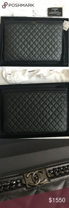 69b1ebd58b76eb Chanel Large Boy Chain Quilted Pouch 100% authentic. Comes with a free  authentication by
