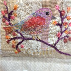Handstitched bird. Debbie Irving