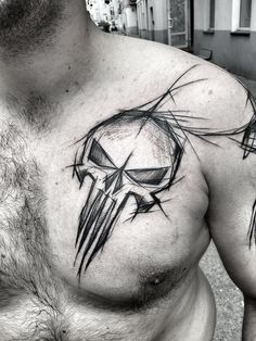 Guy With Sketched Punisher Skull Tattoo Design On Chest tattoo sketches 60 Sketch Tattoos For Men - Artistic Design Ideas Sketch Style Tattoos, Sketch Tattoo Design, Forearm Tattoo Design, Skull Tattoo Design, Skull Tattoos, Tattoo Sketches, Tattoo Designs Men, Tattoo Drawings, Body Art Tattoos