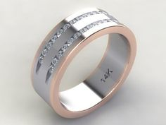 Custom Hand Crafted 14k White Gold & Rose Gold Rail Two Tone Men's Dual Channel Set Diamond Wedding Band With (30) 1.7mm Natural Diamonds.