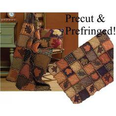 Autumn Leaves Prefringed Rag Quilt Kit