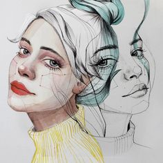 Ana santos art & creative art, watercolor art и art drawings Illustration Art Nouveau, Illustration Art Drawing, Portrait Illustration, Art Drawings, Drawing Art, Daily Drawing, Drawing Faces, Watercolor Face, Watercolor Portraits