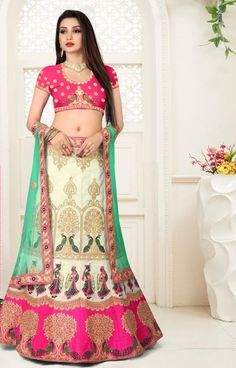 You can be bound to make a powerful style statement with this pink art silk lehenga choli. This attire is displaying some really mesmerizing and creative patterns embroidered with embroidered, resham . Pink Lehenga, Bridal Lehenga Choli, Buy Maxi Dresses Online, Latest Bridal Lehenga, Lehenga Choli Online, Wedding Wear, Saree Wedding, Pink Art, Party Wear Dresses