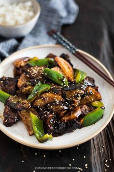 Top 15 Vegetarian Chinese Recipes - Skip the takeout with these healthy vegetarian Chinese recipes you'll want to make every night! Di San Xian (Fried Potato, Eggplant and Pepper in Garlic Sauce 地三鲜) Chinese Eggplant Recipes, Vegetarian Chinese Recipes, Eggplant Dishes, Asian Dinner Recipes, Asian Recipes, Ethnic Recipes, Eggplant Stir Fry, Vegetable Dishes, Vegetable Recipes