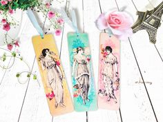 Set of 3 Vintage Ladies Fashion with Watercolor Background Design Wooden Bookmarks, Vintage Misses Fashion Wooden Tags, Decoupage Bookmarks by AllAboutDekka on Etsy https://www.etsy.com/listing/271461787/set-of-3-vintage-ladies-fashion-with