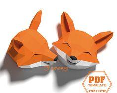 Zorro de papercraft, decoración de la pared 3D de animales, patrones cabeza 2 fox con sencillas instrucciones: descargar, imprimir, cortar, doblar y pegar! Decoración de la habitación de los niños DIY