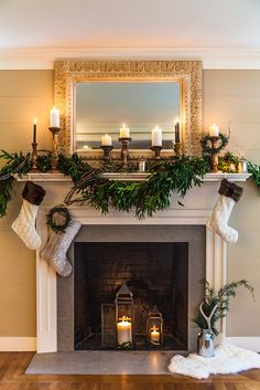 Mantelscaping has become quite the holiday sport. We're always on the hunt for new ways of gussying up our beloved hearths and this year it's all about classic made simple. With a few key pieces from Pier 1 Imports, we turned our mantel into a holiday show-stopper. And a sparkling one at that. It's the […] Christmas Home, Christmas Fireplace Decorations, Fireplace Garland, Fireplace Candles, Christmas Mantles, Classy Christmas, Christmas Ideas, Beautiful Christmas, Xmas Decorations