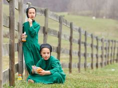 Amish girls eat snacks during an end of the school year celebration in Bergholz, Ohio, April 9, 2013.