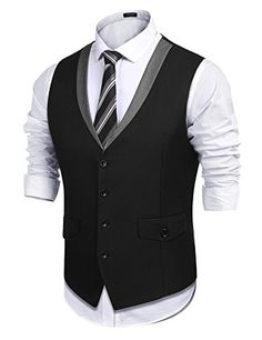 Shop Men's Style Slim Fit Business Suit Dress Vest Skinny Formal Waistcoat - Black - and Discover a Huge Selection of Men's Sport Coats at Affordable Price. Mens Casual Suits, Mens Suits, Stylish Mens Fashion, Mens Fashion Suits, Mens Sport Coat, Sport Coats, Costume Slim, Mode Man, Men's Waistcoat
