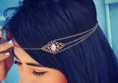 boho head chain, chain headband, pink opal headband, metal headband, unique headband on Etsy, 20,84€