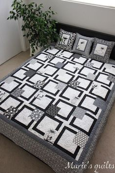 Maries quilts. The corners of each block could be a pop of colour … thinking out loud here … the solid black lines could be black/white prints … just a vision that popped into my head. is creative inspiration for us. Get more photo about home decor related with by …