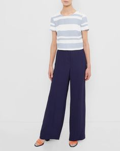 Two-tone striped cropped top - Pale Blue | Tops & T-shirts | Ted Baker UK