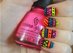 Holy Manicures: Neon Tribal Nails.