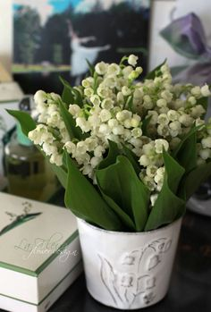 lily of the valley on the vase and inside the vase...lovely...This says: muguet