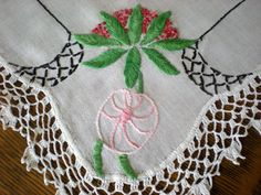 Centerpiece Display Embroidered Crocheted Table Decor, Dresser Scarf Hand Embroidered Cloth in PINK Green Black, White Crocheted Lace as-is by chloeswirl on Etsy Scarf Display, Retro Vintage, Vintage Items, Centerpieces, Table Decorations, Crochet Lace, Pink And Green, Dresser, Scarves