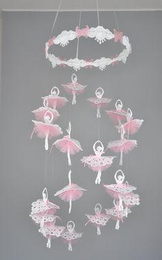 Ballerina mobile, Ballet mobile, Ballet decor, Princess mobile, Tulle pink tutu mobile, Gift for girl, Pink tutu skirt, READY TO SHIP Ballet Decor, Ballet Room, Ballerina Room, Heart Template, Butterfly Template, Flower Template, Crown Template, Flower Mobile, Butterfly Mobile