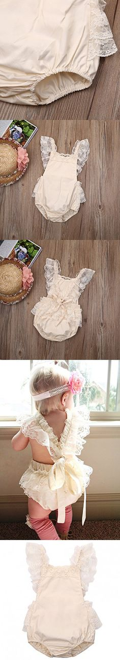 Baby Girls Lovely Ruffle Lace Collar Bodysuit with Headband (6M, Beige)