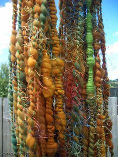 Merino, Corriedale wools plied with commercial eyelash yarn. Spinning Wool, Hand Spinning, Spinning Wheels, Crochet Yarn, Knitting Yarn, Textiles, Art Textile, Yarn Stash, Bead Loom Patterns