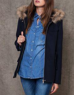 VÊTEMENTS - FEMME | Stradivarius France Manteau en drap de laine à capuche - 45.95€