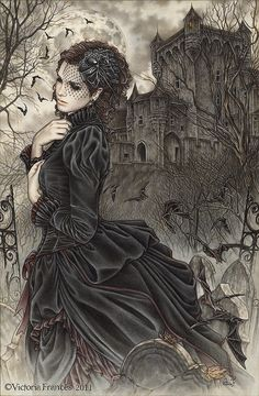 "gothic-and-fantasy: ""Artwork by Victoria Frances "" Dark Fantasy Art, Fantasy Kunst, Fantasy Artwork, Dark Art, Goth Victorien, Gothic Kunst, Gothic Artwork, Victorian Artwork, Victorian Paintings"