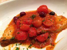 Pescespada con pomodorini, capperi e olive di Gaeta #sicilianfood  #sicilia…