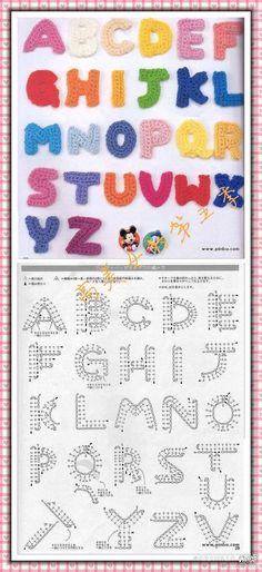 Crochet alphabet chart Alfabet-haken-kleine-letter-a-tot-z Appliques Au Crochet, Crochet Motifs, Crochet Diagram, Crochet Chart, Crochet Stitches, Crochet Symbols, Crochet Diy, Love Crochet, Crochet Flowers