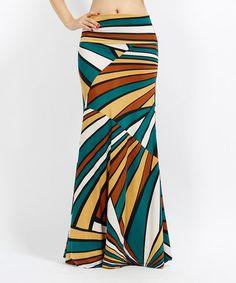 Another great find on #zulily! Brown & Blue Geometric Maxi Skirt - Women #zulilyfinds