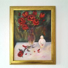 Original red rose painting *Red Roses in a Vase*