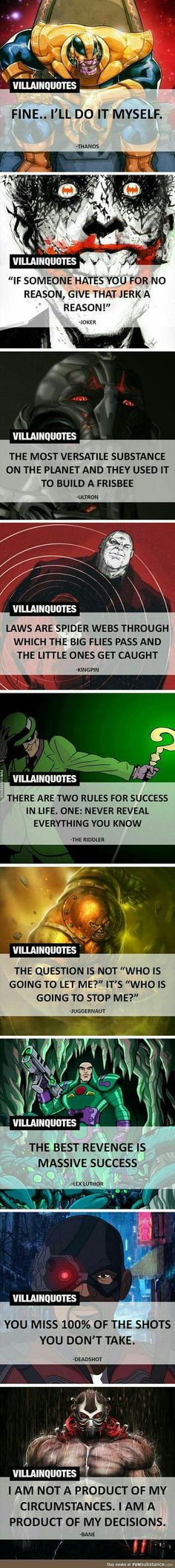 """There's a very fitting quote from on of my favourite book. """"I remember what I just do. Even if it makes me the villain of my own story"""". I think about that quite often. And these quotes are similar. why are villains villains? Because they do things Marvel Vs, Marvel Dc Comics, O Joker, Superhero Facts, Nananana Batman, Dc Memes, Battlestar Galactica, The Villain, Geek Culture"""