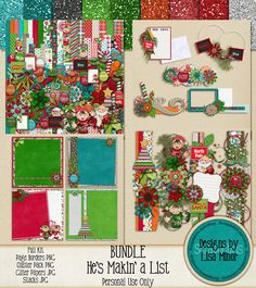 He's Makin' a List BUNDLE , Christmas BUNDLE Scrapbook kit, Christmas Mega Kit, Holiday Scrapbook Bundle, Christmas Scrapbook Bundle, Page Borders, Digital Clip Art, Christmas Clip Art, Holiday Clip Art, Naughty and Nice, Letters to Santa, Elf, Elves, Santa, Santas, Christmas Tree, page cluster, digital page cluster, Christmas page cluster, predeco pages, quick pages, Christmas quick pages, premade Christmas scrapbook page, glitter papers, Christmas Glitter papers