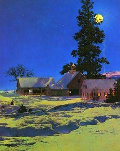 Maxfield Parrish - Moonlit Night- Winter