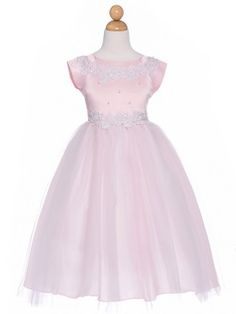 Pink Satin & Tulle Princess Flower Girl Dress (Size 4,8 and 12 Only 1 Left)