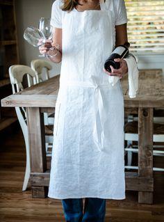 Pure white linen apron. Ready to order?!❤️